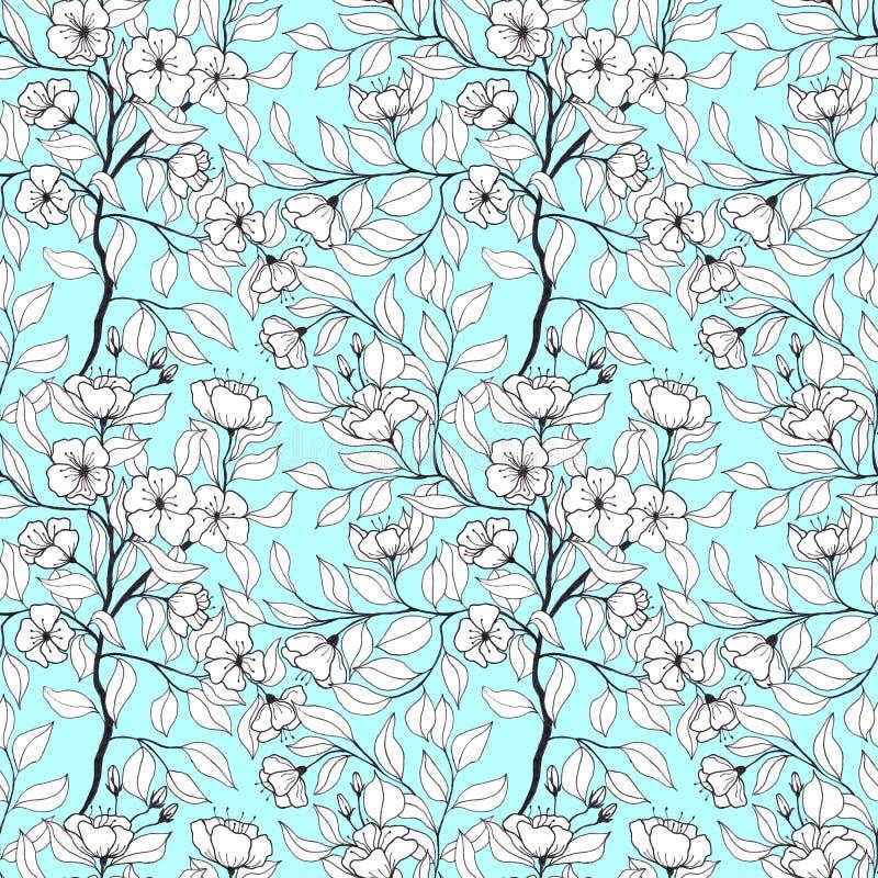 Floral άνευ ραφής σχέδιο με τους κλάδους με τα λουλούδια και τα φύλλα μήλων απεικόνιση αποθεμάτων