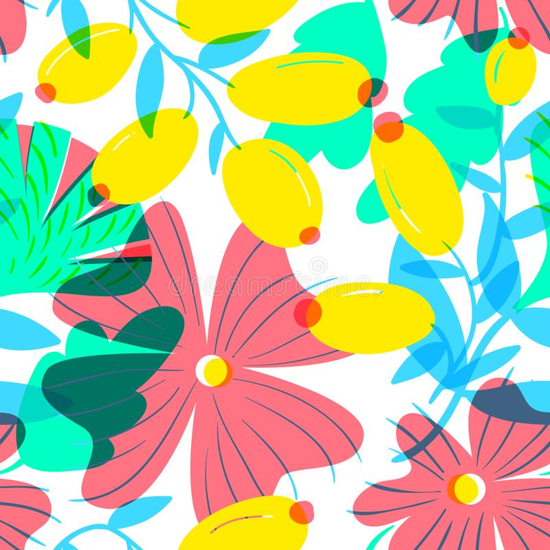 Floral άνευ ραφής σχέδιο με tranparency τα στοιχεία WI υποβάθρου διανυσματική απεικόνιση