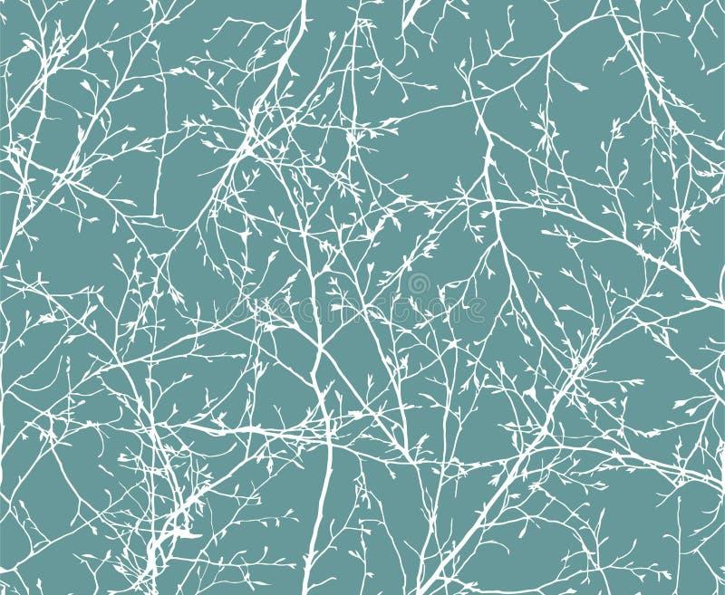 Floral άνευ ραφής σχέδιο των κλάδων μπλε διάνυσμα ουρανού ουράνιων τόξων εικόνας σύννεφων ελεύθερη απεικόνιση δικαιώματος