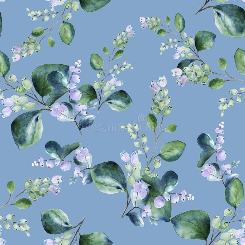 Floral άνευ ραφής σχέδιο watercolor με τους ανθίζοντας snowberry κλαδίσκους στο μπλε υπόβαθρο κρητιδογραφιών στοκ εικόνες