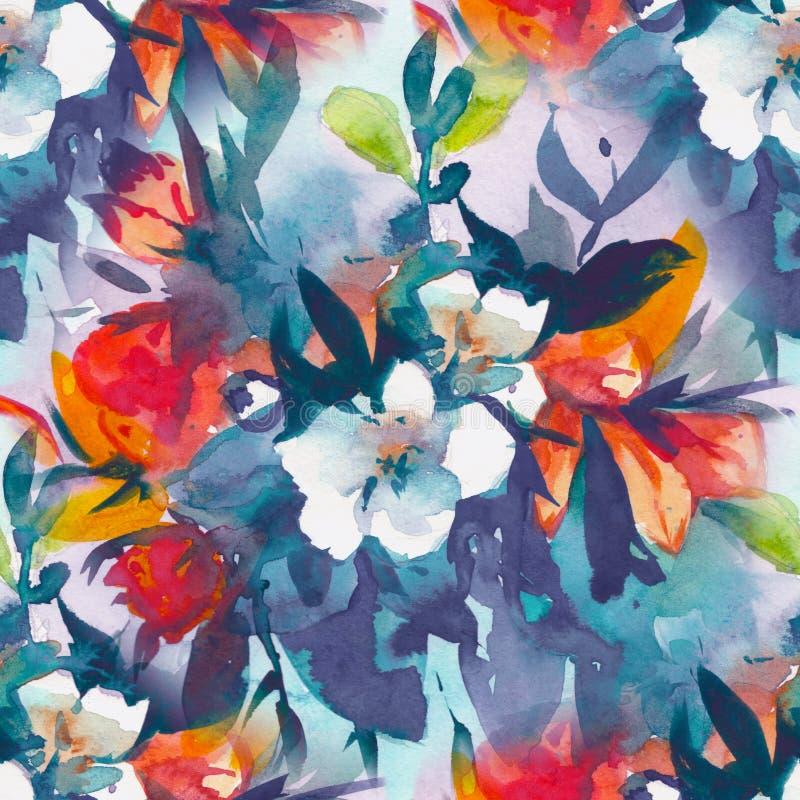 Floral άνευ ραφής σχέδιο Watercolour, λεπτά λουλούδια, κίτρινα, μπλε και ρόδινα λουλούδια απεικόνιση αποθεμάτων
