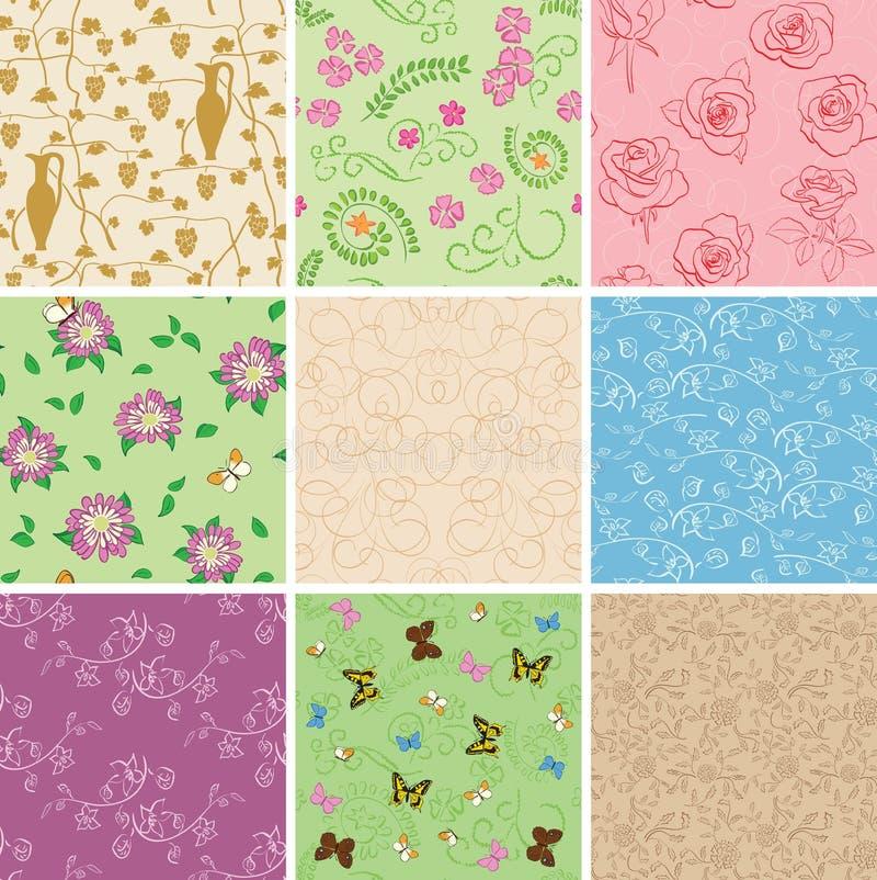 Floral άνευ ραφής σχέδια με τα λουλούδια - διανυσματικά υπόβαθρα απεικόνιση αποθεμάτων
