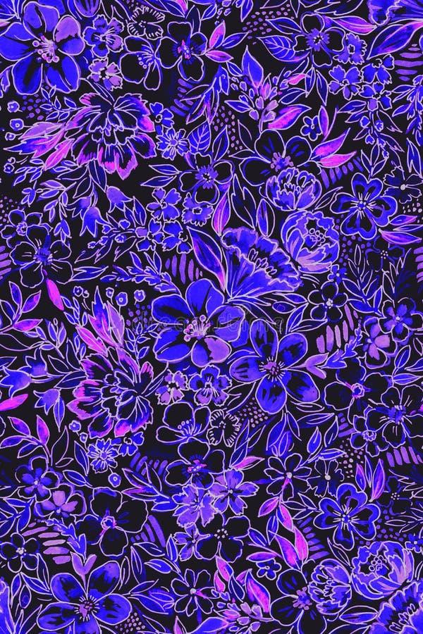 Floral άνευ ραφής σχέδιο ακουαρελών στοκ φωτογραφία με δικαίωμα ελεύθερης χρήσης