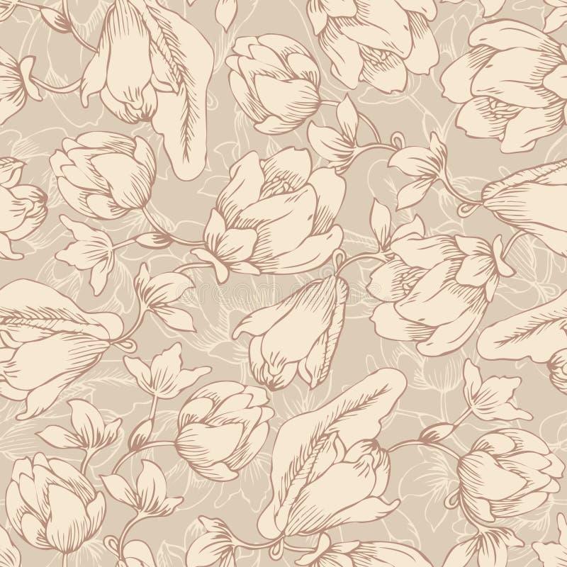 Floral άνευ ραφής σχέδιο, ατελείωτη σύσταση με τα λουλούδια στον τρύγο απεικόνιση αποθεμάτων