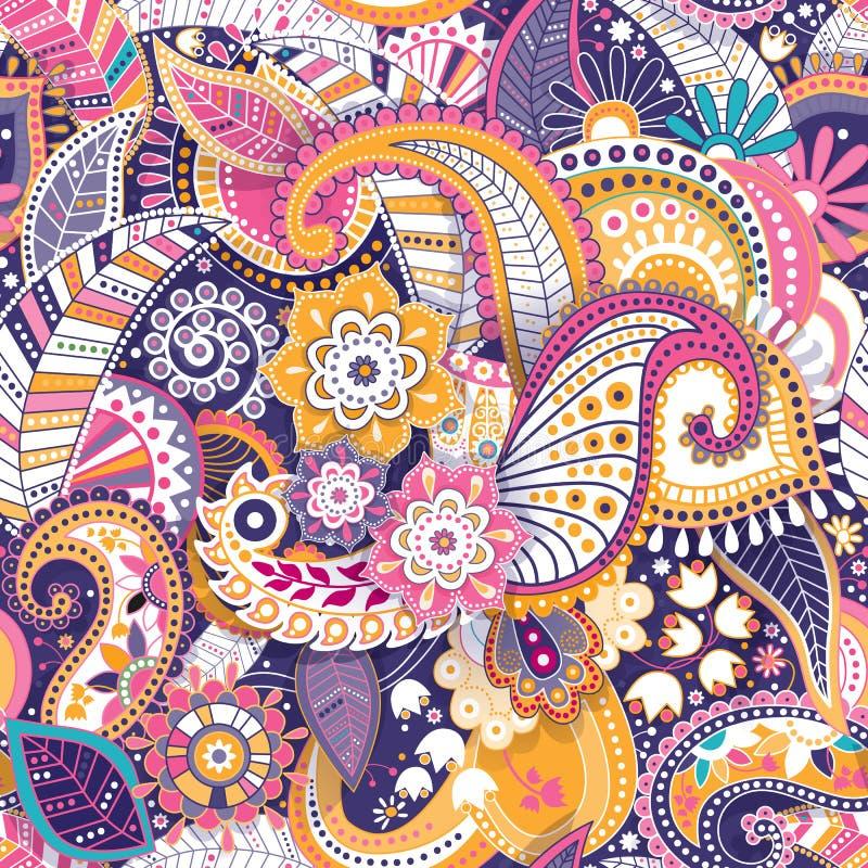 Floral άνευ ραφής σχέδιο, επίδραση σύστασης Ινδική ζωηρόχρωμη διακόσμηση Διανυσματικά διακοσμητικά λουλούδια και Paisley Εθνικό ύ διανυσματική απεικόνιση