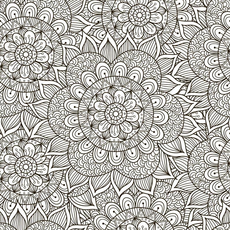 Floral άνευ ραφής σχέδιο διακοσμήσεων Γραπτή στρογγυλή σύσταση διακοσμήσεων ελεύθερη απεικόνιση δικαιώματος