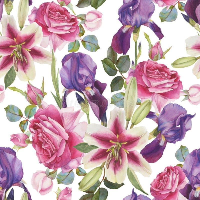 Floral άνευ ραφής σχέδιο με συρμένους τους χέρι κρίνους, τα τριαντάφυλλα και την ίριδα watercolor ελεύθερη απεικόνιση δικαιώματος