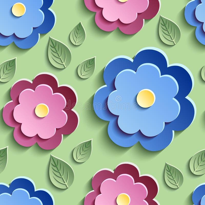 Floral άνευ ραφής σχέδιο με τα ζωηρόχρωμα τρισδιάστατα λουλούδια απεικόνιση αποθεμάτων