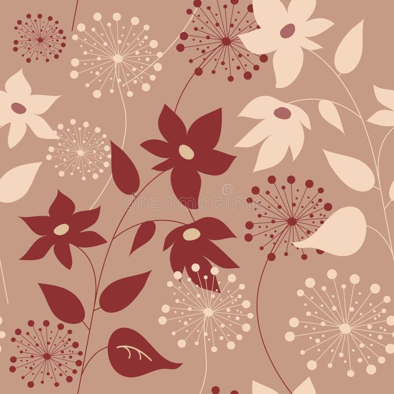 Floral άνευ ραφής σχέδιο με τα μοντέρνες λουλούδια και τις πικραλίδες διανυσματική απεικόνιση