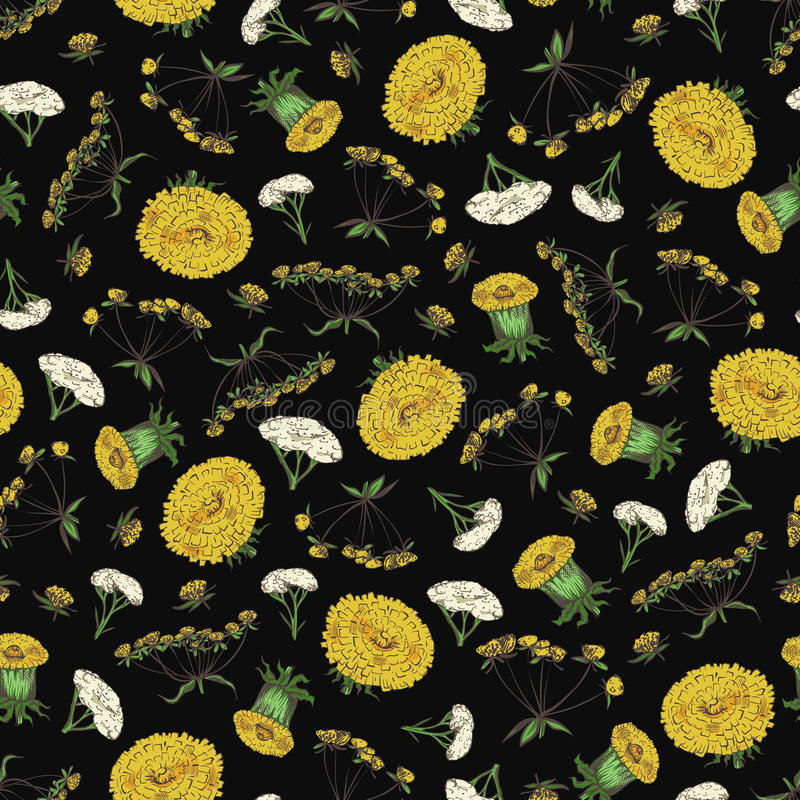Floral άνευ ραφής σχέδιο με τα λουλούδια άνοιξη - διαμορφώστε την άνευ ραφής σύσταση με τα κίτρινα και άσπρα λουλούδια ελεύθερη απεικόνιση δικαιώματος