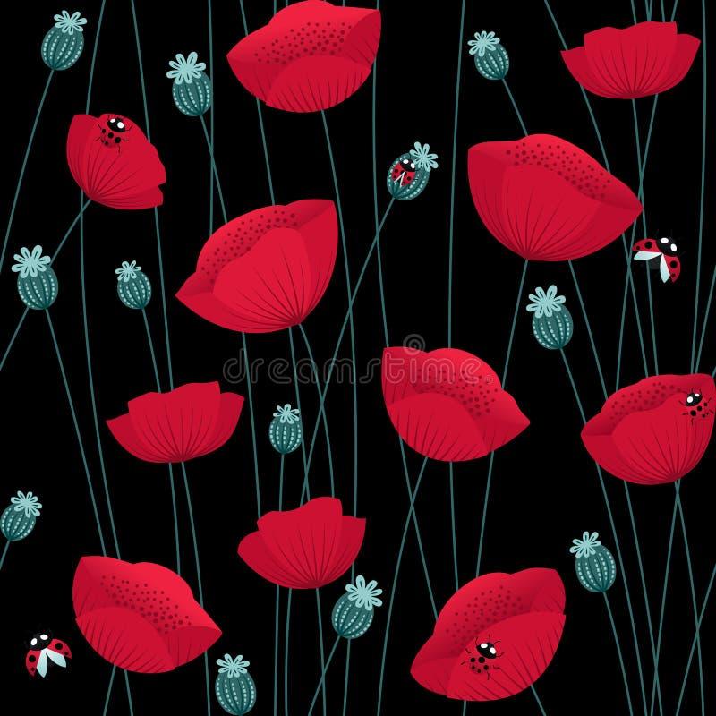 Floral άνευ ραφής σχέδιο με τα λουλούδια παπαρουνών στο μαύρο υπόβαθρο με τα ladybugs απεικόνιση αποθεμάτων