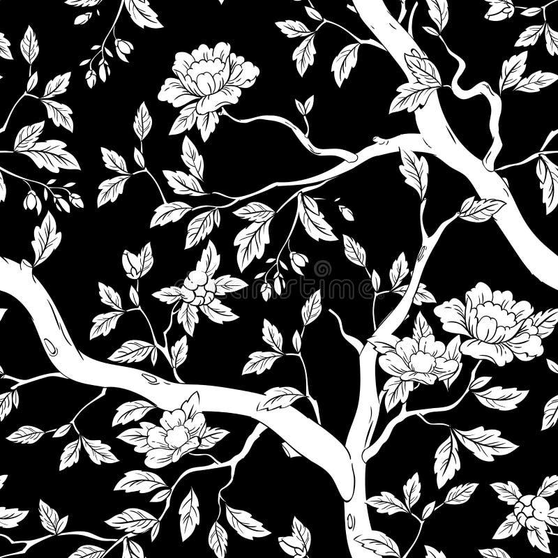 Floral άνευ ραφής σχέδιο με τα ρόδινα λουλούδια απεικόνιση αποθεμάτων