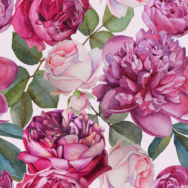 Floral άνευ ραφής σχέδιο με τα τριαντάφυλλα watercolor και peonies διανυσματική απεικόνιση
