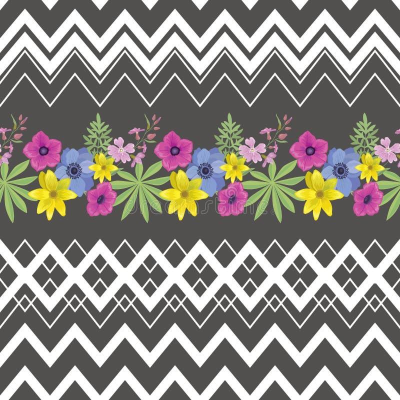 Floral άνευ ραφής σχέδιο με τα λωρίδες τρεκλίσματος διανυσματική απεικόνιση