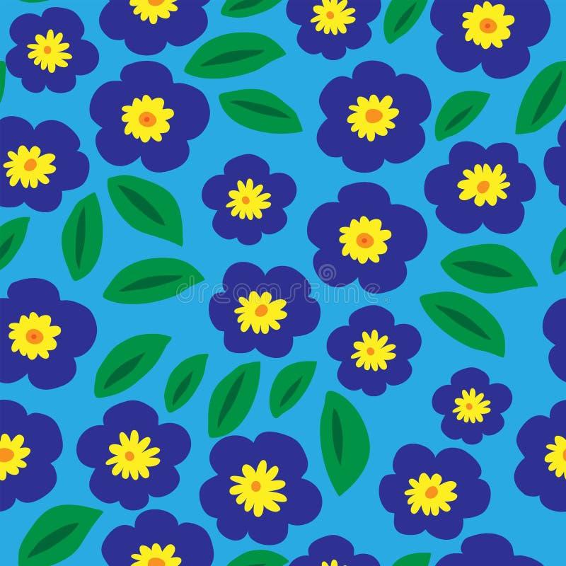 Floral άνευ ραφής σχέδιο με τις μπλε βιολέτες και τα φύλλα ελεύθερη απεικόνιση δικαιώματος