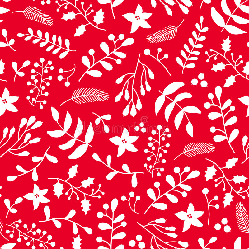 Floral άνευ ραφής σχέδιο Χριστουγέννων με τον ελαιόπρινο, γκι α ελεύθερη απεικόνιση δικαιώματος