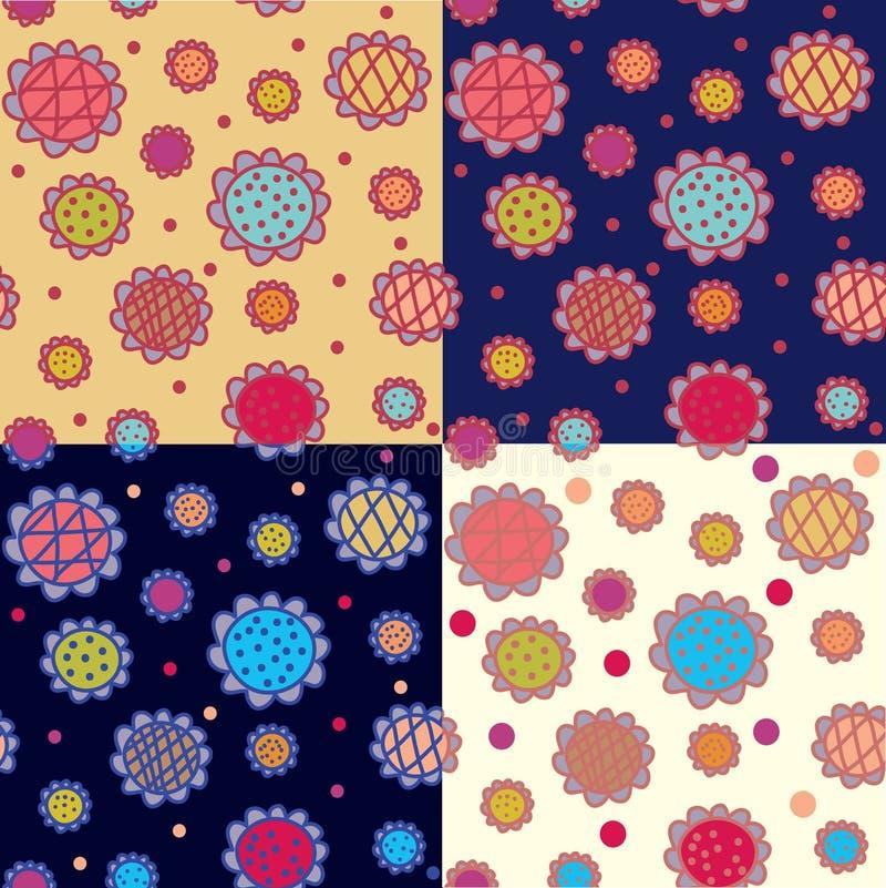 floral άνευ ραφής σύνολο προτύπ&omeg απεικόνιση αποθεμάτων
