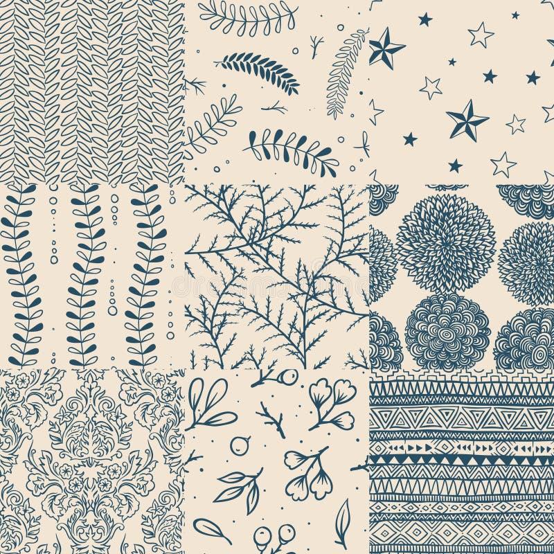 floral άνευ ραφής σύνολο προτύπ&omeg διανυσματική απεικόνιση