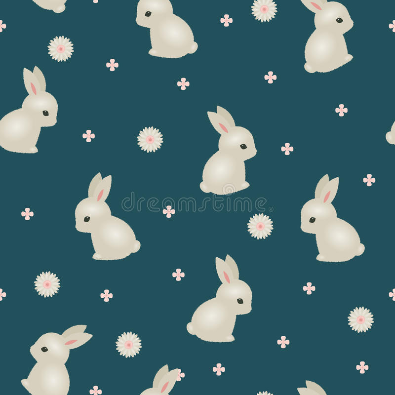 Floral άνευ ραφής ταπετσαρία κουνελιών μωρών ελεύθερη απεικόνιση δικαιώματος