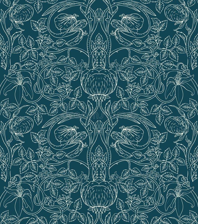 floral άνευ ραφής τρύγος προτύπων απεικόνιση αποθεμάτων