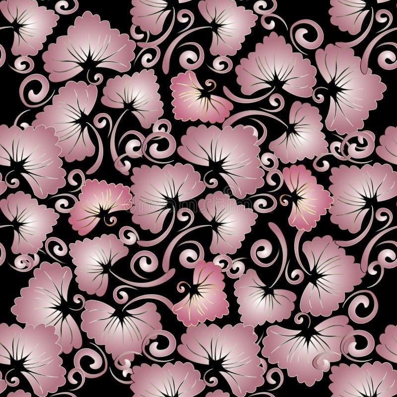 floral άνευ ραφής τρύγος προτύπω& Αφηρημένο διανυσματικό μαύρο backgroun απεικόνιση αποθεμάτων