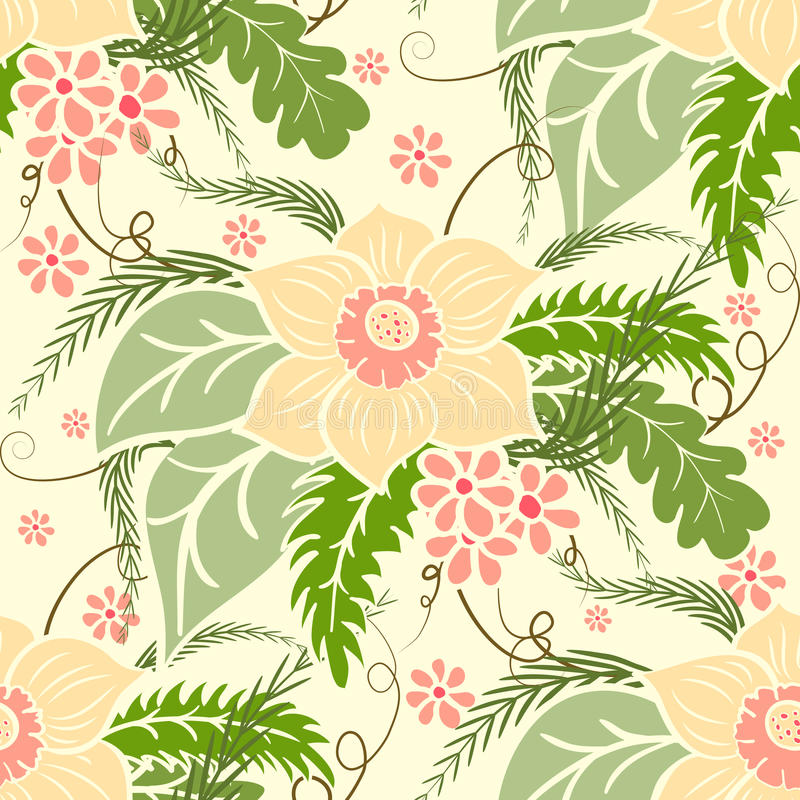floral άνευ ραφής τρύγος προτύπω& Μεγάλες ανθοδέσμες των λουλουδιών και των φύλλων σε ένα ελαφρύ υπόβαθρο διανυσματική απεικόνιση