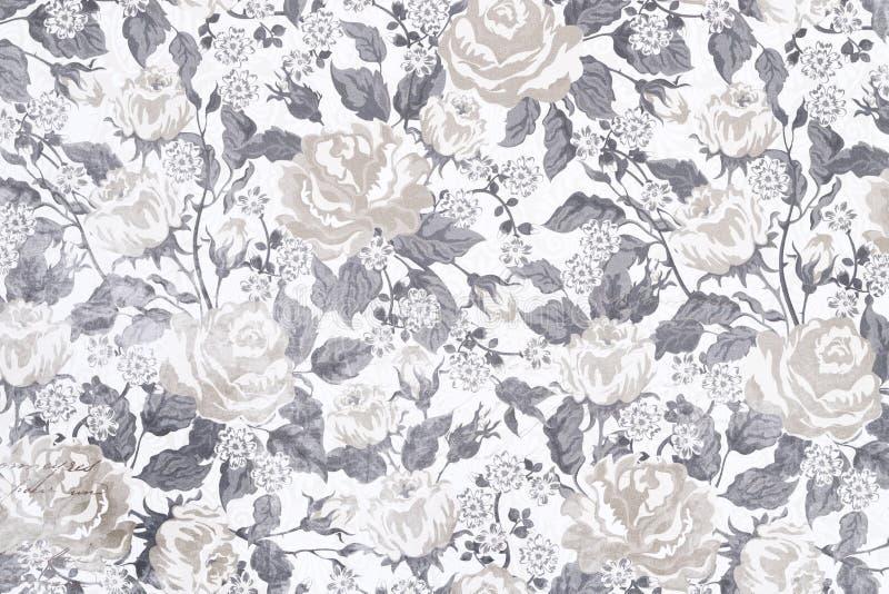 floral άνευ ραφής τρύγος προτύπω& στοκ εικόνα