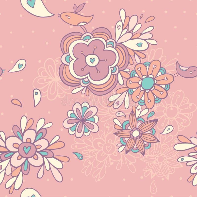 floral άνευ ραφής τρύγος προτύπω& διανυσματική απεικόνιση