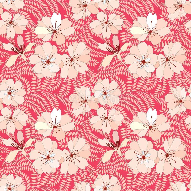Floral άνευ ραφής υπόβαθρο. ευγενές σχέδιο λουλουδιών. απεικόνιση αποθεμάτων