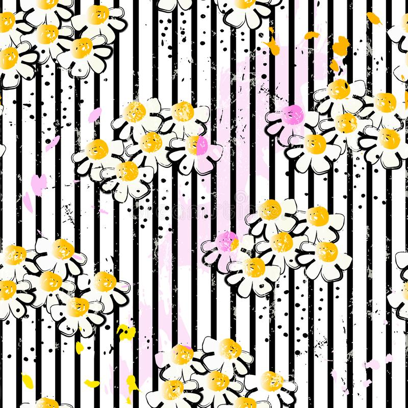 Floral άνευ ραφής υπόβαθρο σχεδίων, με τα λωρίδες, κτυπήματα χρωμάτων ελεύθερη απεικόνιση δικαιώματος