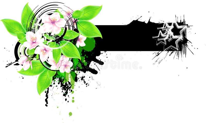 Floral έμβλημα διανυσματική απεικόνιση