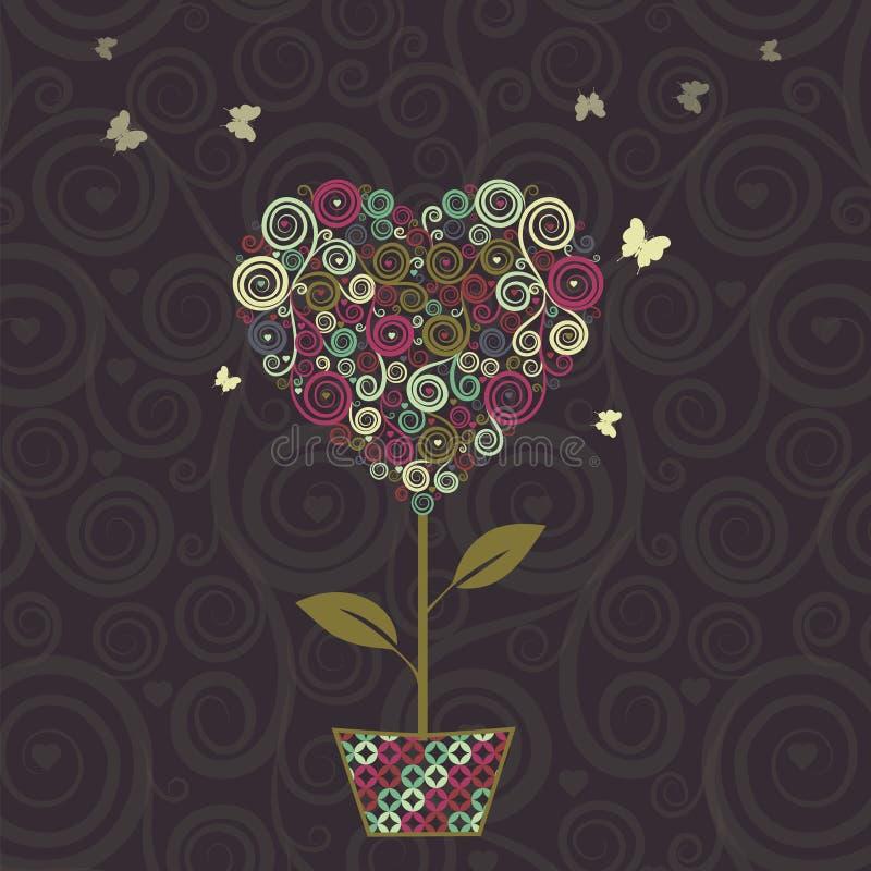 Floral δέντρο, μορφή καρδιών στο δοχείο για το σχέδιό σας ελεύθερη απεικόνιση δικαιώματος