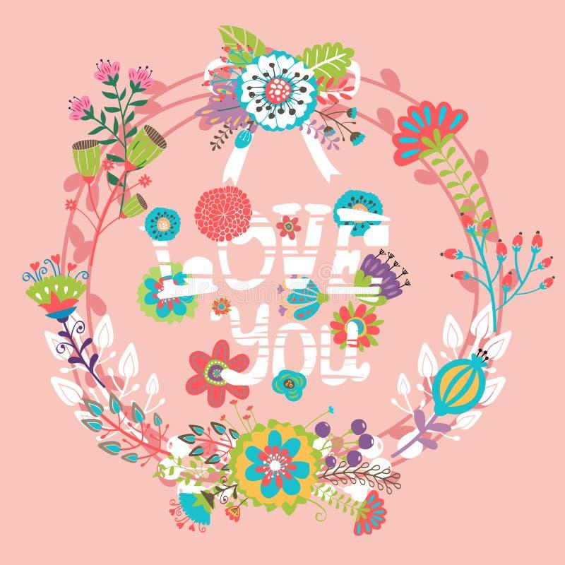 Floral αγάπη εσείς με το στεφάνι διανυσματική απεικόνιση