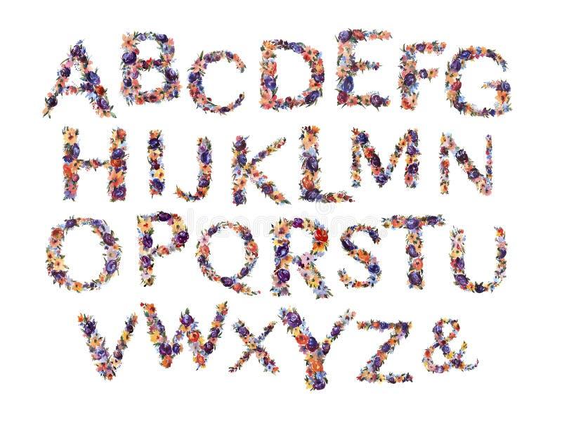 Floral αλφάβητο Watercolor, απομονωμένες θερινές επιστολές στο άσπρο υπόβαθρο διανυσματική απεικόνιση
