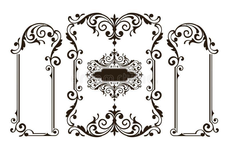 Floral αναδρομική απεικόνιση σχεδίου deco τέχνης αυτοκόλλητων ετικεττών συνόρων πλαισίων γωνιών στοιχείων διακοσμήσεων ελεύθερη απεικόνιση δικαιώματος
