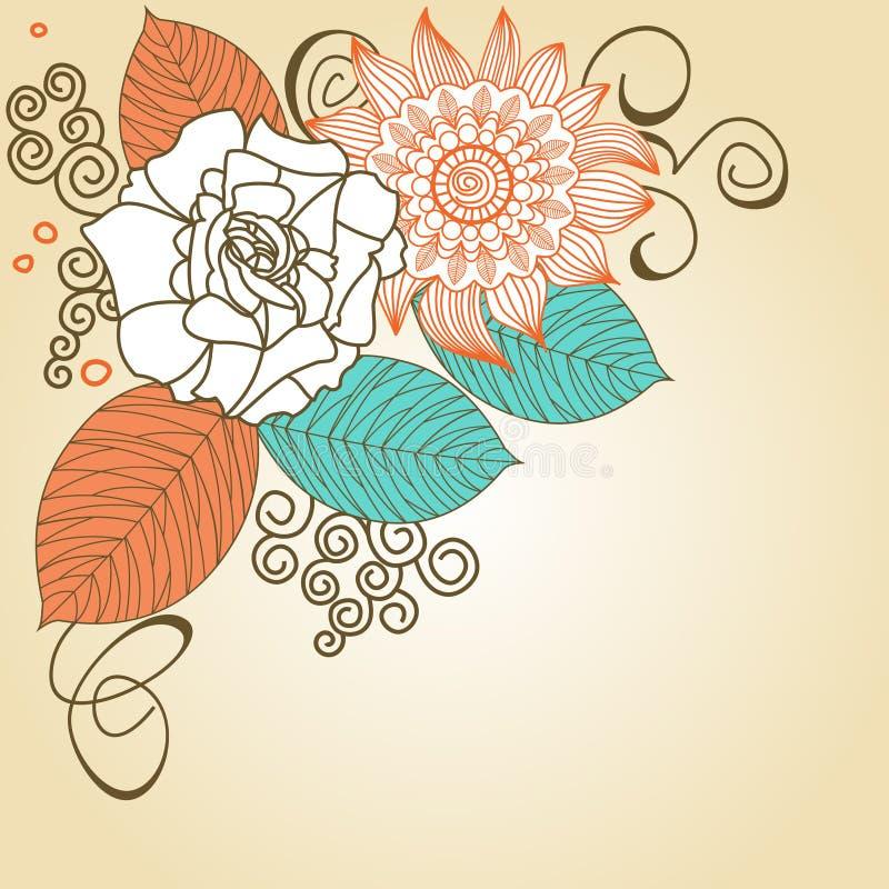 floral αναδρομικός γωνιών απεικόνιση αποθεμάτων