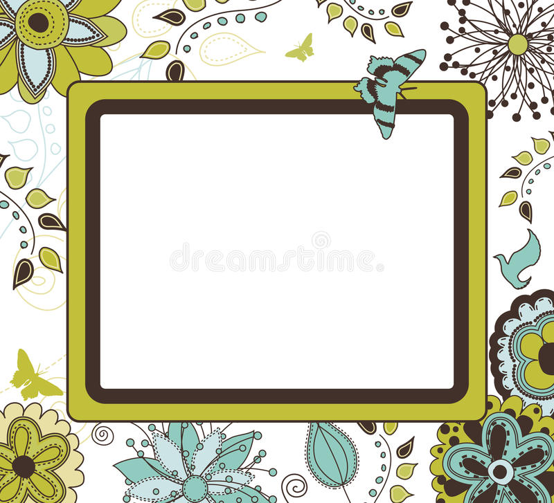 Floral αναδρομικό πλαίσιο διανυσματική απεικόνιση