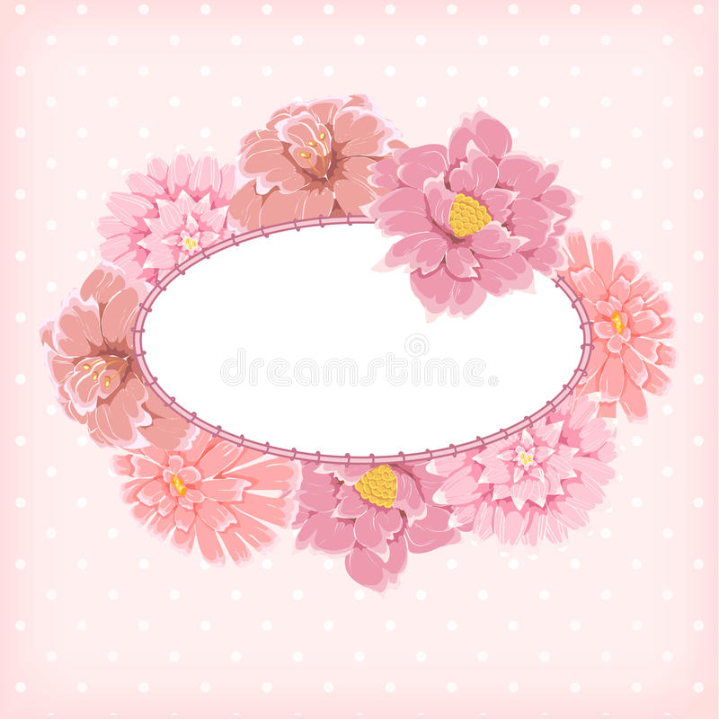 floral αναδρομικό ύφος πλαισίω& διανυσματική απεικόνιση