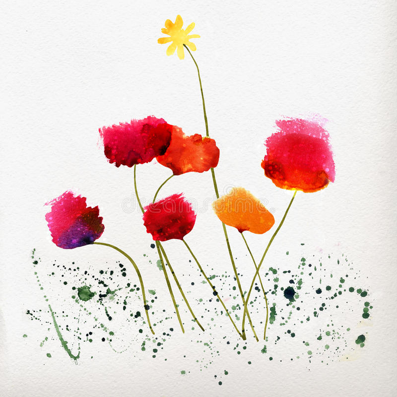 Floral ανασκόπηση με τις παπαρούνες watercolor ελεύθερη απεικόνιση δικαιώματος