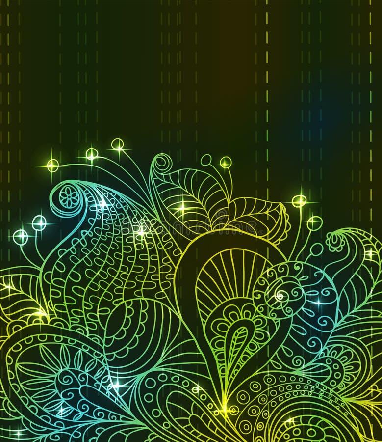 Floral ανασκόπηση χρώματος Doodle πράσινη φωτεινή ελεύθερη απεικόνιση δικαιώματος