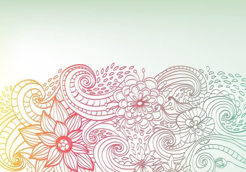 Floral ανασκόπηση χρώματος Doodle ελεύθερη απεικόνιση δικαιώματος