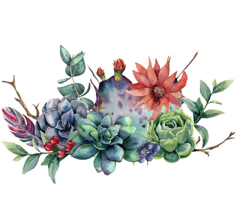Floral ανθοδέσμη Watercolor με τον κάκτο και το λουλούδι Χρωματισμένο χέρι opuntia, succulent, μούρα, φτερά, φύλλα ευκαλύπτων διανυσματική απεικόνιση