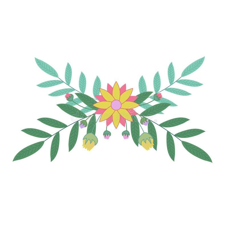 Floral απεικόνιση συνόρων Σχέδιο για την πρόσκληση, τη γαμήλια τυπωμένη ύλη ή τις ευχετήριες κάρτες διανυσματική απεικόνιση