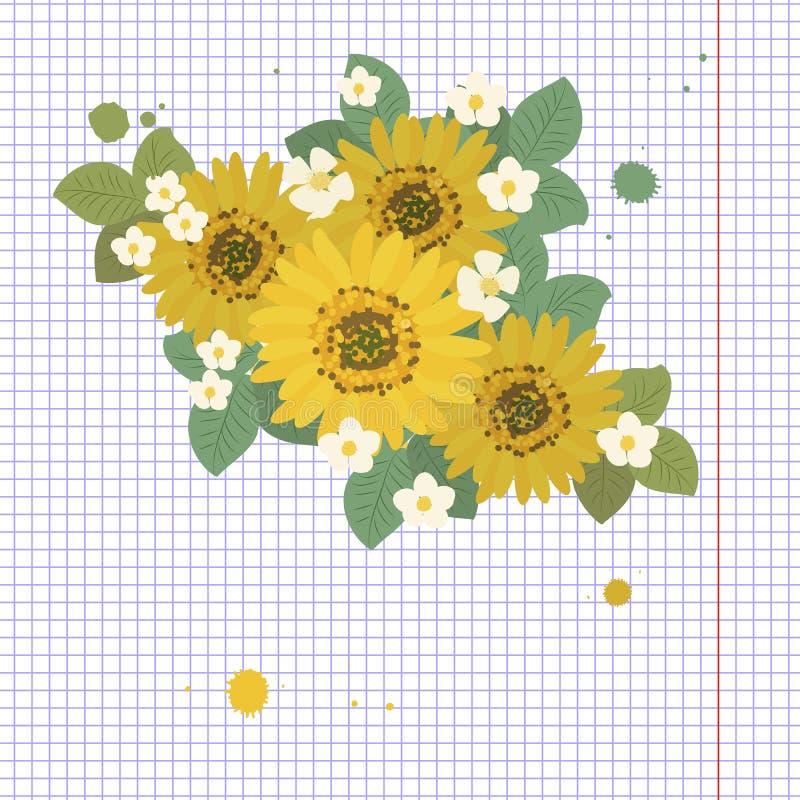 Floral απεικόνιση υποβάθρου ηλίανθων μαργαριτών ελεύθερη απεικόνιση δικαιώματος
