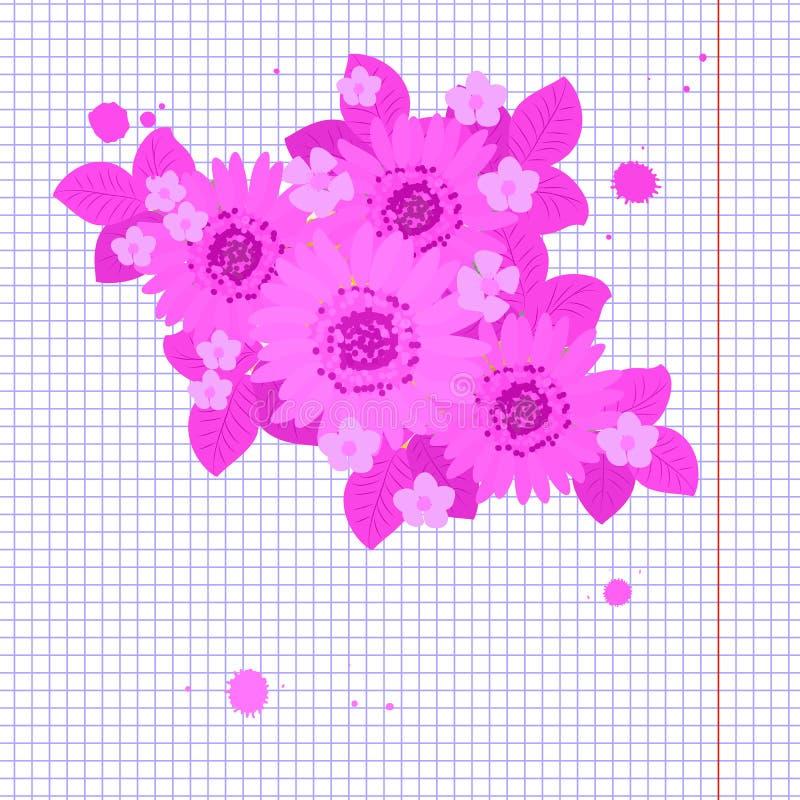 Floral απεικόνιση υποβάθρου ηλίανθων μαργαριτών απεικόνιση αποθεμάτων