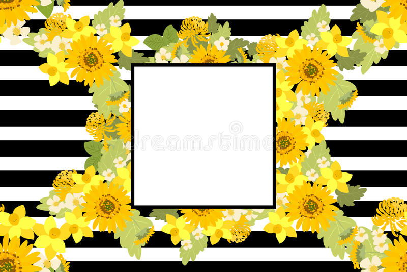Floral απεικόνιση υποβάθρου ναρκίσσων χρυσάνθεμων ηλίανθων φραουλών απεικόνιση αποθεμάτων