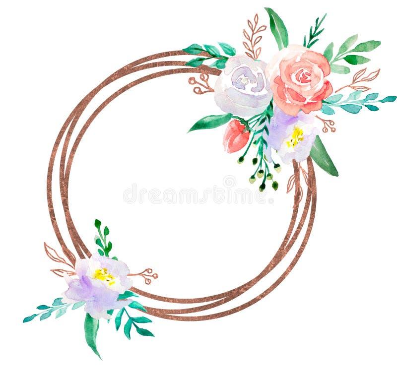 Floral απεικόνιση Watercolor - πλαίσιο στεφανιών λουλουδιών με τη χρυσή γεωμετρική μορφή, για το γάμο στάσιμο, τους χαιρετισμούς, διανυσματική απεικόνιση