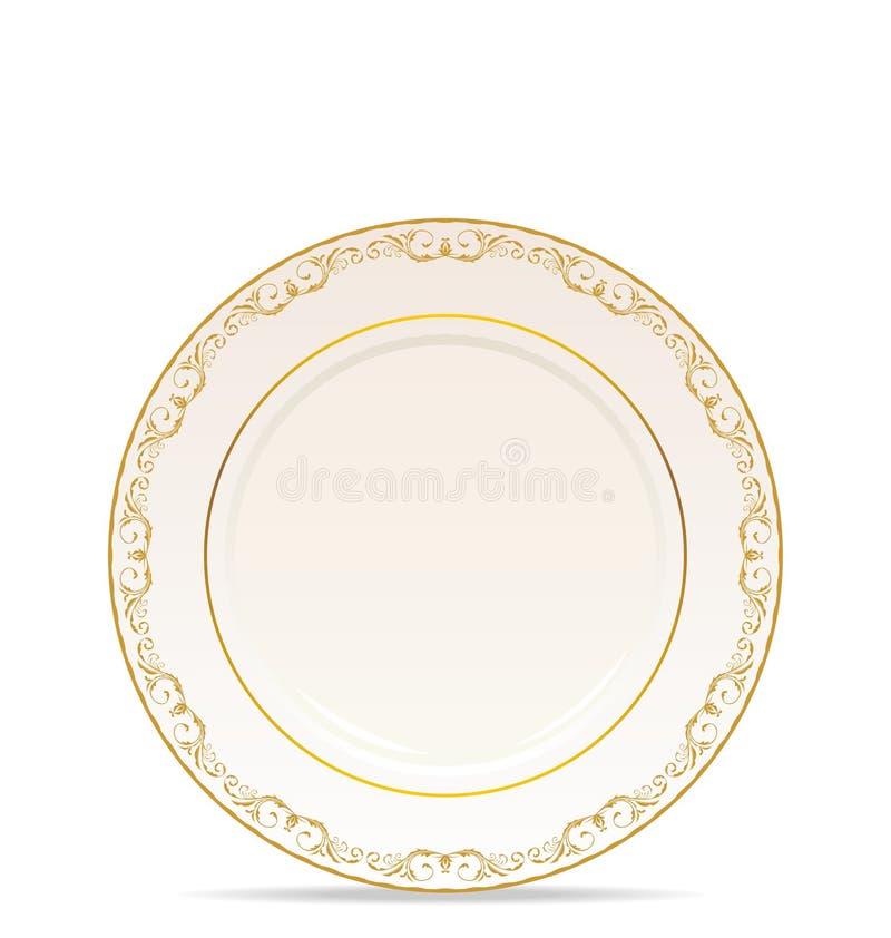 floral απομονωμένο πιάτο διακ&omicro ελεύθερη απεικόνιση δικαιώματος