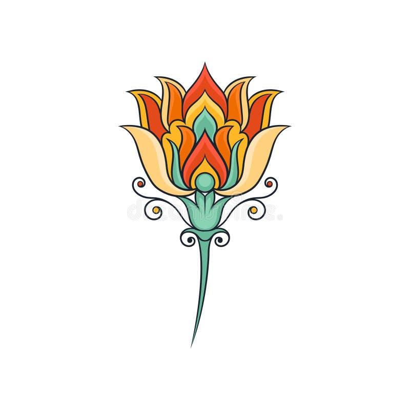 floral ασιατικό πρότυπο Ζωηρόχρωμη ινδική διακόσμηση Αφηρημένο γραμμικό λουλούδι ο επηρεασθείς φλοιός είναι μούρων μπλε οικογένει απεικόνιση αποθεμάτων