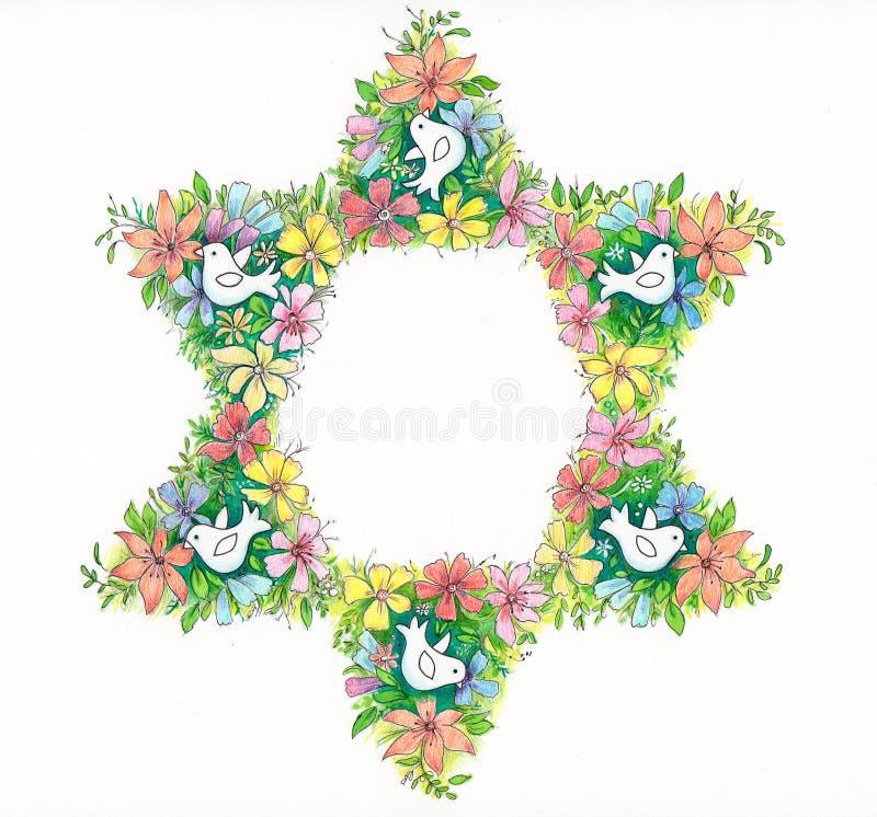 Floral αστέρι του Δαυίδ διανυσματική απεικόνιση
